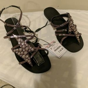 Zara strappy jeweled sandals shoes size 37 US 6.5